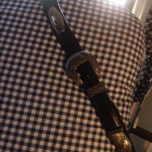 Brighton onyx black western silver concho belt lg